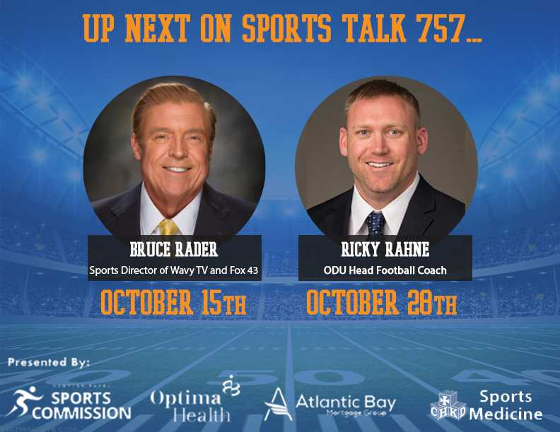 Upcoming October SportsTalk 757 Guests Announced